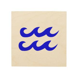 Blue Aquarius Zodiac Symbol Wood Wall Decor