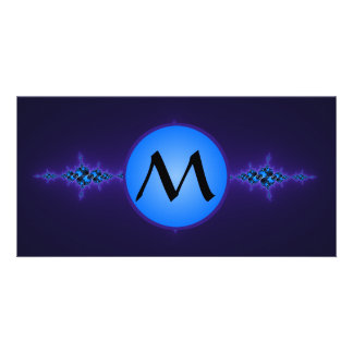 Blue Arabesque on Deep Purple, monogram on blue Photo Card