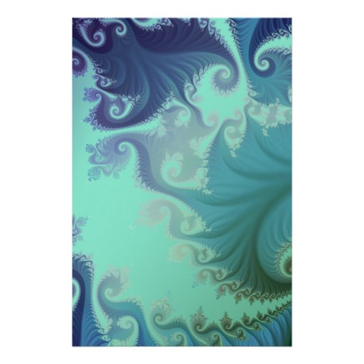 blue arabesque tryptich poster