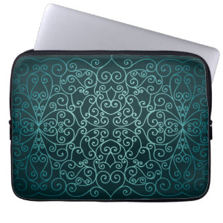 Blue Arabic ornamental pattern Laptop Sleeve