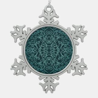 Blue Arabic ornamental pattern Snowflake Pewter Christmas Ornament