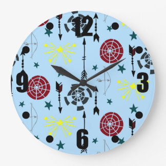 Blue Archery Bows Arrows and Targets Large Clock