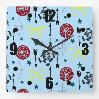 Blue Archery Bows Arrows and Targets Square Wall Clock