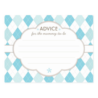Blue Argyle Baby Shower Advice for Mommy to Be Postcard