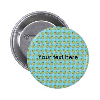 Blue argyle banana pattern 6 cm round badge