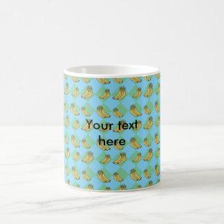 Blue argyle banana pattern coffee mug
