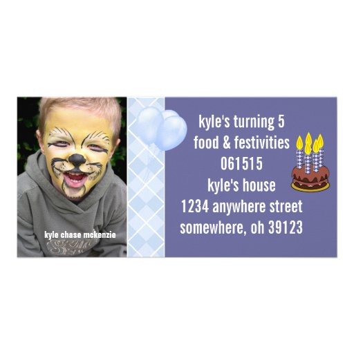 Blue Argyle Birthdy Photo Invitation Customized Photo Card