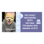 Blue Argyle Birthdy Photo Invitation Photo Card