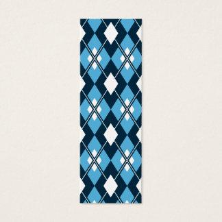 Blue Argyle Bookmark Mini Business Card