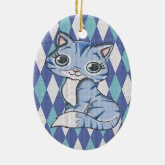 Blue Argyle Kitty Cat Ceramic Oval Decoration