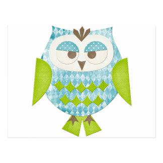 Blue Argyle Owl Postcard