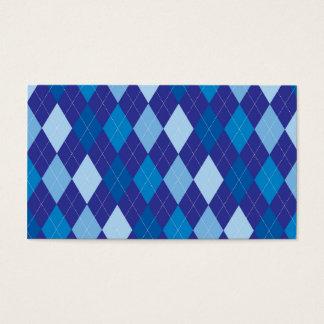 Blue argyle pattern business card