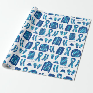 Blue Argyle Pattern Items Wrapping Paper - Large