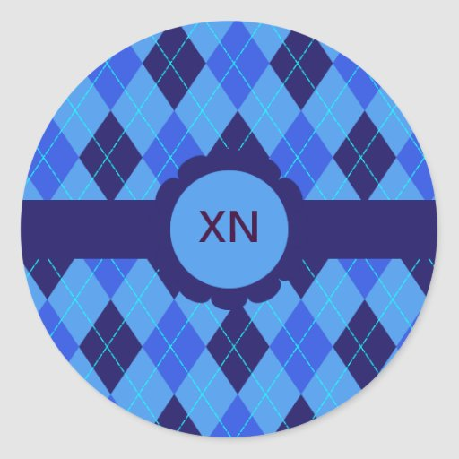 Blue argyle personalised initial N X stickers