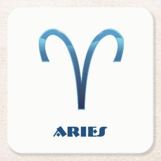 Blue Aries Zodiac Sign On White Square Paper Coaster