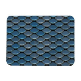 Blue Armor Geometric Pattern Magnets