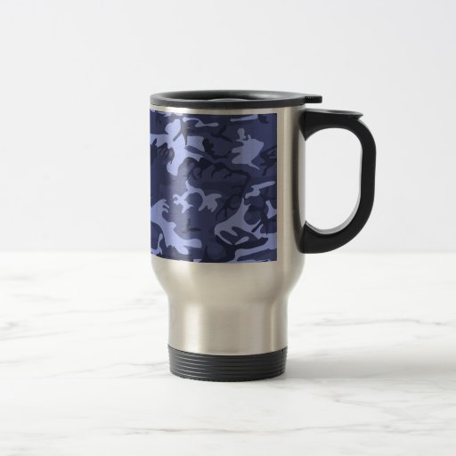 Blue army camouflage design pattern mugs