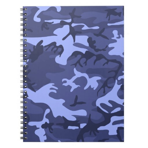 Blue army camouflage design pattern note books