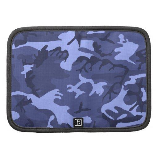 Blue army camouflage design pattern folio planner