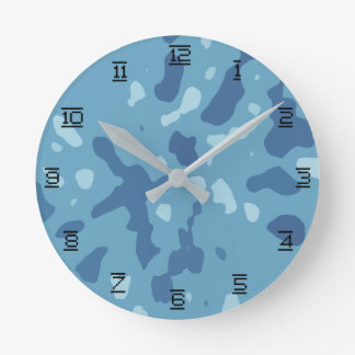 Blue Army Camouflage Pattern Round Clock