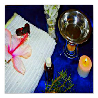 blue aromatherapy stress relieving spa home decor poster