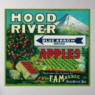 Blue Arrow Apple Crate LabelHood River, OR Poster