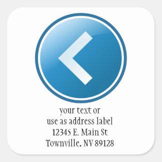 Blue Arrow Button - Left Square Sticker