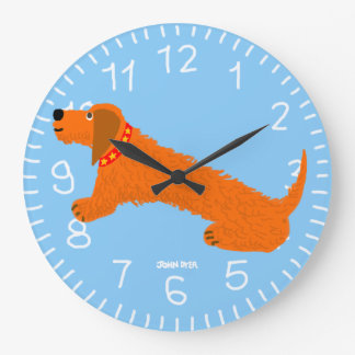 Blue Art Clock: John Dyer Sausage Dog Design Large Clock