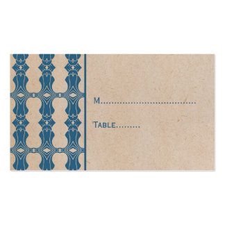 Blue Art Deco Border Place Card Double-Sided Standard Business Cards (Pack Of 100)