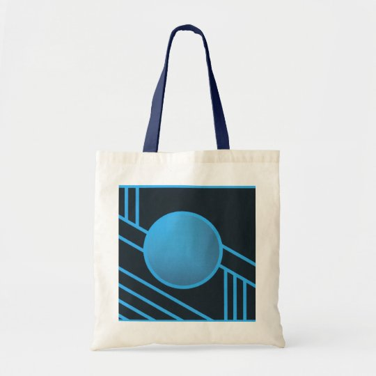 Blue Art Deco Circle Tote Bag