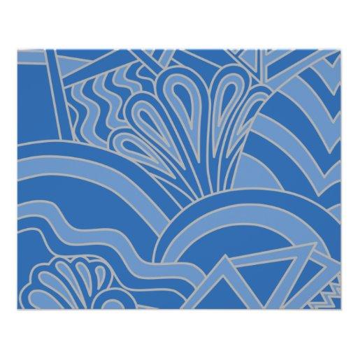 Blue Art Deco Style Design. Personalized Flyer
