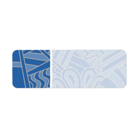 Blue Art Deco Style Design. Return Address Label