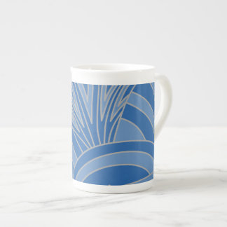 Blue Art Deco Style Design. Bone China Mugs