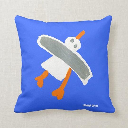 Blue Art Pillow: John Dyer Cornish Seagull Cushion