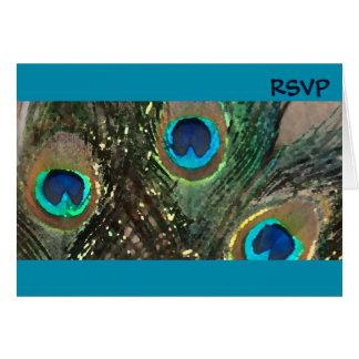 Blue Artistic Peacock Wedding RSVP Card