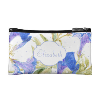 Blue Artsy Floral Monogram Small Cosmetic Bag