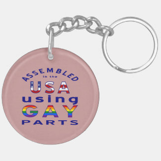 Blue Assembled USA Gay Parts Key Chains
