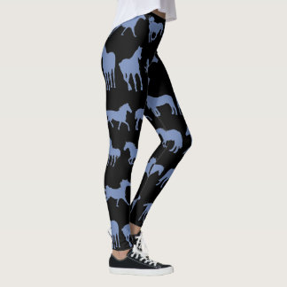 Blue Assorted Horse Breeds Leggings