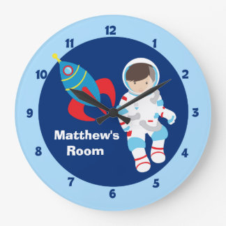 Blue Astronaut Spaceship Kids Wallclock