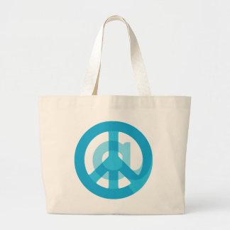 """Blue """"At Peace"""" Sign - At Symbol + Peace Sign Jumbo Tote Bag"""
