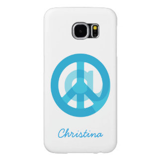 """Blue """"At Peace"""" Sign - At Symbol + Peace Sign Samsung Galaxy S6 Cases"""