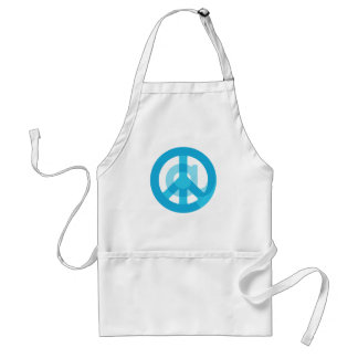 "Blue ""At Peace"" Sign - At Symbol + Peace Sign Standard Apron"