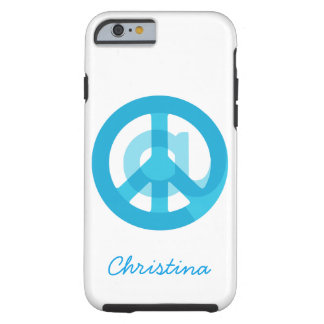 """Blue """"At Peace"""" Sign - At Symbol + Peace Sign Tough iPhone 6 Case"""