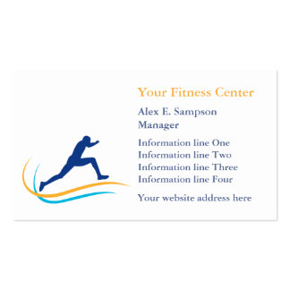Blue Athlete Gold Swirl Fitness Business Card Template