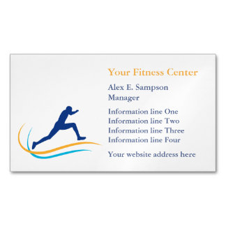 Blue Athlete Gold Swirl Fitness Magnetic Business Cards