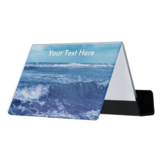 Blue Atlantic Ocean Photograph White Cap Waves Desk Business Card Holder