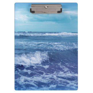 Blue Atlantic Ocean Waves Clouds Sky Photograph Clipboard