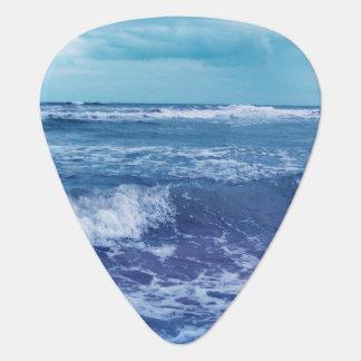 Blue Atlantic Ocean Waves Clouds Sky Photograph Guitar Pick