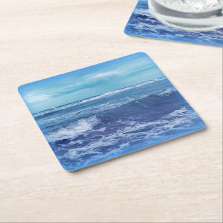 Blue Atlantic Ocean Waves Clouds Sky Photograph Square Paper Coaster