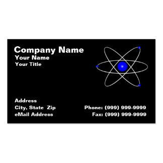 Blue Atom Against a Black Background Business Card Template
